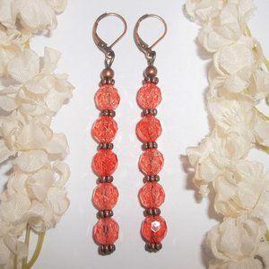 Extra Long Boho Earrings Orange & Copper NWT 6000